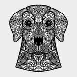 Tête ornementale de chien - un symbole de la nouvelle année 2018 Concept noir et blanc Image libre de droits