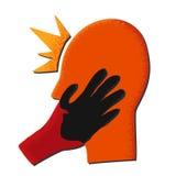 Tête rouge avec la main noire illustration libre de droits