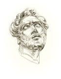 Tête scolaire de gypse d'antiquité de dessin illustration stock
