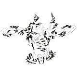 Tête stylisée abstraite de vache à B&W Image libre de droits