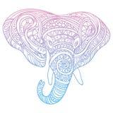 Tête stylisée d'un éléphant Portrait ornemental d'un éléphant Couleur dessinant à la main indien mandala Vecteur Illustration Stock