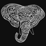 Tête stylisée d'un éléphant Portrait ornemental d'un éléphant Dessin noir et blanc indien mandala Vecteur Illustration de Vecteur