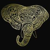 Tête stylisée d'un éléphant Portrait ornemental d'un éléphant Modèle d'or sur un fond noir indien mandala Illustration de Vecteur