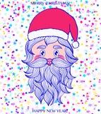 Tête tirée par la main de Santa Claus Image libre de droits