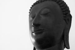 Tête traditionnelle de Bouddha sur un fond blanc avec l'espace de copie Photographie stock libre de droits