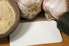 Têtes d'ail et de poudre d'ail Photographie stock
