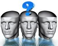 têtes de l'homme 3D avec la question bleue Photographie stock
