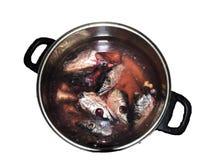 Têtes de poissons dans un bac Photographie stock libre de droits