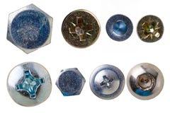 Têtes de vis, noix, rivets et d'autres détails en métal Images libres de droits