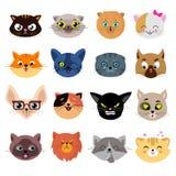 Têtes des caractères mignons de chat avec l'ensemble différent de vecteur d'émotions illustration de vecteur