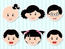 Têtes des filles/des garçons avec le cheveu noir Photo libre de droits