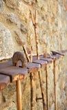 Têtes en bois d'escroc du ` s de berger image stock