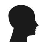 Têtes foncées de silhouette sur le fond blanc Photos libres de droits