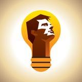 Têtes humaines avec le symbole d'ampoule Photos stock