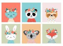 Têtes mignonnes d'animaux avec la couronne de fleur, illustrations de vecteur pour la conception de crèche, affiche, cartes de  illustration de vecteur