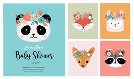 Têtes mignonnes d'animaux avec la couronne de fleur, illustrations de vecteur pour la conception de crèche, affiche, cartes de  illustration stock