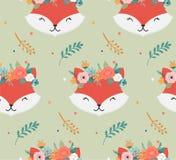 Têtes mignonnes de renards avec la couronne de fleur, conception sans couture de modèle de vecteur pour la crèche, affiche, carte illustration libre de droits