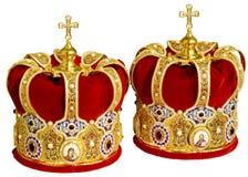 Têtes orthodoxes de cérémonial de mariage Photographie stock