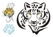 Têtes tribales de léopards Photos stock