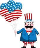 Tío Sam con los globos de la bandera de los E.E.U.U. Fotografía de archivo libre de regalías