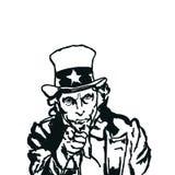 Tío Sam - ejemplo blanco y negro foto de archivo