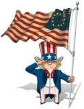 Tío Sam Saluting Betsy Ross Flag Imágenes de archivo libres de regalías
