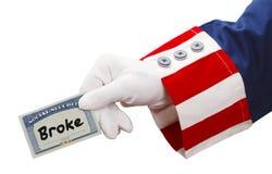 Tío Sam Social Security Broke fotografía de archivo