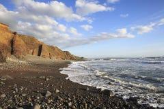 Título da praia de Duckpool para o bude Cornualha Reino Unido Imagem de Stock