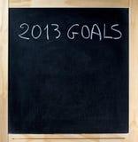 Título de 2013 metas en la pizarra Imagen de archivo libre de regalías