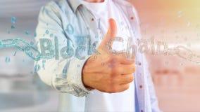 Título de Blockchain com um cahin feito do número dos dados - 3d rendem Fotografia de Stock Royalty Free