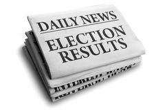 Título de diario de los resultados de elección Foto de archivo