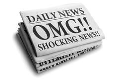 Título de jornal chocante da notícia de OMG