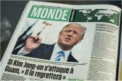Título de jornal sobre a Coreia do Norte Fotografia de Stock Royalty Free