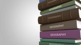Título de la geografía en la pila de libros, animación loopable conceptual 3D libre illustration