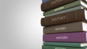 Título de la HISTORIA en la pila de libros, animación loopable conceptual 3D ilustración del vector