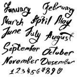 Título de los meses del año Números a partir de la 0 a 9 Fotos de archivo libres de regalías