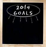 Título de 2014 metas en la pizarra Imagenes de archivo