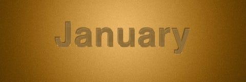 Título de texto del oro de enero para el diseño del fondo del mes imágenes de archivo libres de regalías