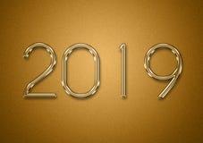 título 2019 de texto del oro para un diseño del fondo foto de archivo libre de regalías