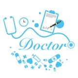 Título del doctor del vector con los instrumentos médicos Imágenes de archivo libres de regalías