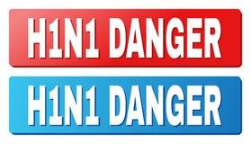 Título del PELIGRO H1N1 en los botones azules y rojos del rectángulo libre illustration