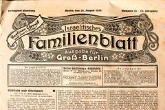 Título del periódico judío antiguo de Berlín en alemán Imagen de archivo