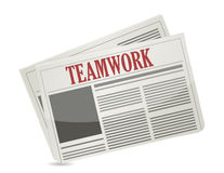 Título del trabajo en equipo en un periódico. Imagen de archivo