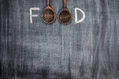 Título do alimento escrito com giz fotos de stock royalty free