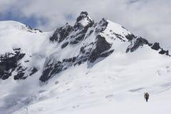 Título do caminhante para o pico nevado Fotografia de Stock Royalty Free