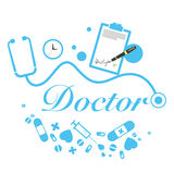 Título do doutor do vetor com instrumentos médicos Imagens de Stock Royalty Free