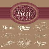 Título do menu, rotulação da mão ajustada (vetor) Imagens de Stock Royalty Free