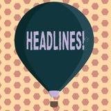 Título do texto da escrita da palavra Conceito do negócio para dirigir na parte superior de uma página do artigo em um jornal ou  ilustração stock