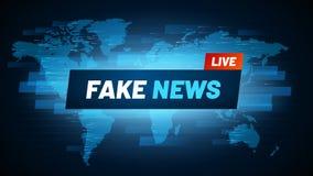 Título falsificado da notícia O logotipo da fabricação da reportagem da televisão, a transmissão do engano e a falsificação socia ilustração royalty free