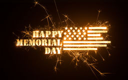 Título FELIZ Sparkly de MEMORIAL DAY com bandeira Fotografia de Stock Royalty Free